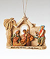 5 Inch Holy Family with Little Drummer Boy Ornament, Fontanini
