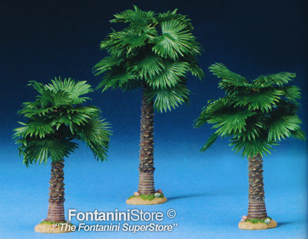 5 Inch Scale 3 Piece Single Trunk Palm Trees by Fontanini