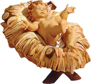 50 inch scale infant jesus with resin manger by fontanini